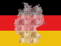 German map. Republic of Germany map with 10 euros and German flag Stock Photo