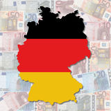 German map flag on euros. Map and flag of Germany with collage of colourful euro notes illustration Royalty Free Stock Images