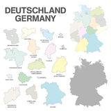 German map with regional boarders - federal states - high detail Royalty Free Stock Photography