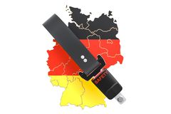 German map with safety belt. Security and protect or insurance c Royalty Free Stock Photos