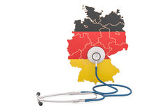 German map with stethoscope, national health care concept, 3D re Stock Images