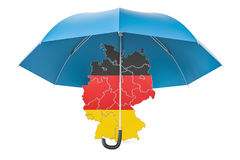 German map under umbrella. Security and protect or insurance con. Cept, 3D rendering isolated on white background Royalty Free Stock Photos