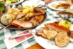 German meal of pork and potatoes Royalty Free Stock Photos