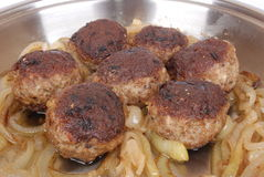 German meatballs sizzling in pan stock image