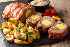 German meatloaf Falscher Hase or Hackbraten is a traditional p stock photos