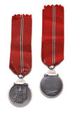 German medal for winter campaign. German at the World War Two Medal for winter campaign at the East front. (on slang, medal called - frozen flesh, because of royalty free stock image