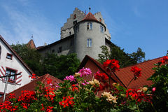 German medieval grey castle with flowers. German medieval grey castle with red  flowers and roofs in front Royalty Free Stock Photo