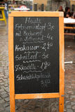 German menu board on the street royalty free stock photography