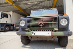 German mercedes benz wolf, stands under military roof Stock Image