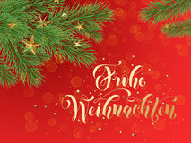 German Merry Christmas Frohe Weihnachten decoration ornaments background tree branches Stock Photos