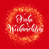 German Merry Christmas Frohe Weihnachten ornament decoration sparkle glitter greeting. German Merry Christmas Frohe Weihnachten Festive glittering gold snow Royalty Free Stock Images