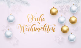 German Merry Christmas Frohe Weihnachten white pattern golden calligraphy lettering Stock Images