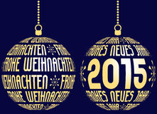 German merry christmas and happy new year. Background on dark blue royalty free illustration