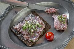 German mettwurst and pumpernickel stock photography