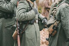 German military ammunition of a German soldier at World War II. Close up of German military ammunition of a German soldier at World War II. Warm autumn clothes stock images