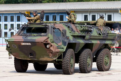 German military armoured personnel carrier, Fuchs. BURG / GERMANY - JUNE 25, 2016: german military armoured personnel carrier, Fuchs Fox drives on open day in royalty free stock photo