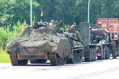German military army convoy, stands on street stock images