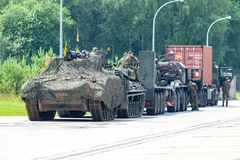 German military army convoy, stands on street stock photography
