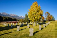 German military cemetery with High Tatras mountains in the background Royalty Free Stock Image