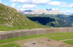 German Military Cemetery Pordoi, Dolomites Italy. Pordoi is a pass in the Italian Dolomites in the Alps, located between the Sella group in the north and the Royalty Free Stock Photos