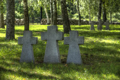 German military cemetery in sunny summer day Stock Photos
