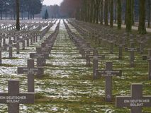 German military cemetery in Ysselstein where soldiers were buried after the battle of Overloon.  royalty free stock photography