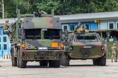 German military MAN Multi 2 swap body truck tanker refueled army vehicles. BURG / GERMANY - JUNE 25, 2016: german military MAN Multi 2 swap body truck tanker royalty free stock images