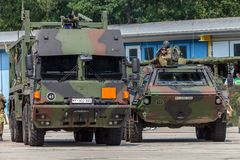 German military MAN Multi 2 swap body truck tanker refueled army vehicles. BURG / GERMANY - JUNE 25, 2016: german military MAN Multi 2 swap body truck tanker stock photo
