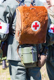 German military paramedic equipment with a red cross brassard. And medical bag during the Second World War Stock Image