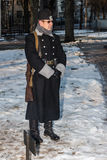German military personnel. Historical reconstruction.Vitebsk,Belarus,december2013 Stock Image
