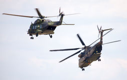 German military transport helicopters, nh 90 and ch 53 Stock Photo