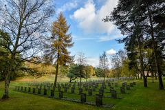 German Military War Cemetery in Staffordshire, England. 4787 German and Austrian servicemen war graves set amongst Cannock Chase area of Outstanding Natural Royalty Free Stock Images
