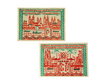 German money. Old German pre-war money. 1918-1924 year. crisis. Held notes royalty free stock images