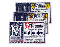 German money. Old German pre-war money. 1918-1924 year. crisis. Held notes stock images