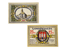 German money. Old German pre-war money. 1918-1924 year. crisis. Held notes Royalty Free Stock Photo