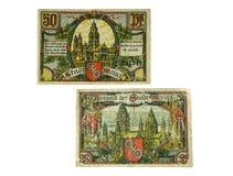 German money. Old German pre-war money. 1918-1924 year. crisis. Held notes Stock Image