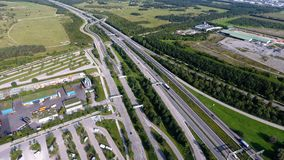 German motorways seen from above. Aerial view of German highways, drone view Royalty Free Stock Photos