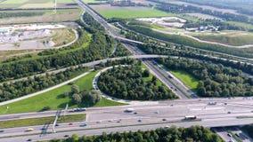 German motorways seen from above. Aerial view of German highways, drone view Stock Images