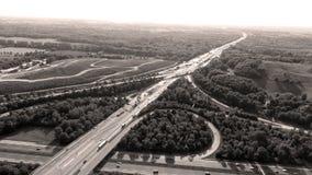 German motorways seen from above. Aerial view of German highways, drone view Royalty Free Stock Images