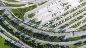 German motorways seen from above. Aerial view of German highways, drone view of parking lot, Allianz Arena stadium Stock Images