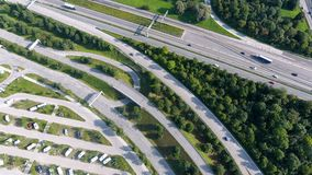 German motorways seen from above. Aerial view of German highways, drone view of parking lot, Allianz Arena stadium Royalty Free Stock Images