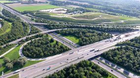 German motorways seen from above. Aerial view of German highways, drone view Stock Photography