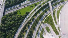 German motorways seen from above. Aerial view of German highways, drone view Royalty Free Stock Image