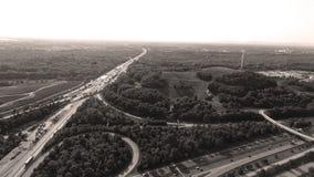 German motorways seen from above. Aerial view of German highways, drone view Stock Photos