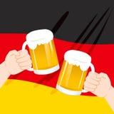 German Mug Hands Toasting Stock Photo