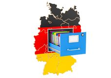 German national database concept, 3D rendering. Isolated on white background Royalty Free Stock Photo