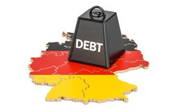 German national debt or budget deficit, financial crisis concept. 3d Royalty Free Stock Images