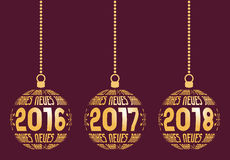 German New Year elements for years 2016-2018. German Happy New Year graphic elements for years 2016, 2017, 2018. Christmas Germany balls with text Frohes Neues Royalty Free Stock Image