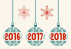 German New Year graphic design elements 2016-2018. German Happy New Year graphic design elements for years 2016, 2017, 2018.  Christmas balls with Germany text Stock Photography