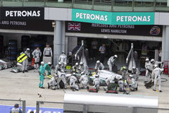 Nico Rosberg pits for tyres Royalty Free Stock Photos